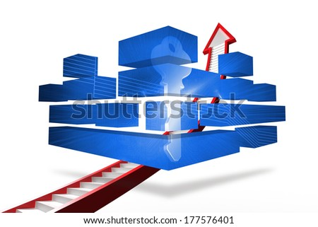Digital key on abstract screen against red ladder arrow graphic
