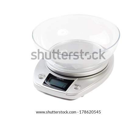 Digital kitchen scale, isolated on a white background