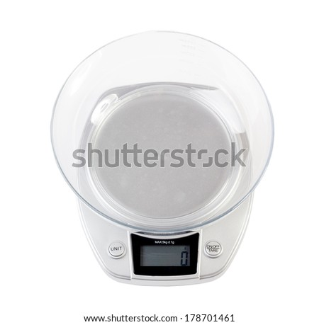 Digital kitchen scale, isolated on a white background - stock photo