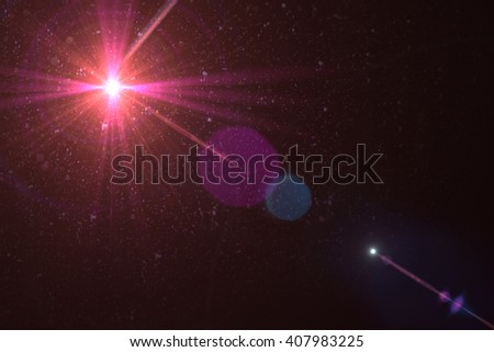 digital lens flare in black bacground