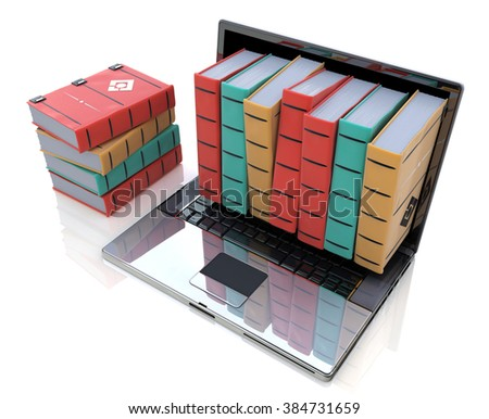 Digital library - Colored books inside computer in the design of the information related to online education and training - stock photo