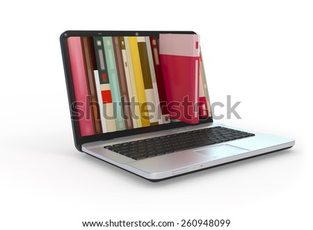 Digital library e-books in laptop computer. - stock photo
