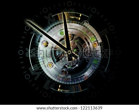 Digital Life of Clockwork. Backdrop of  clock gears, numbers and fractal elements to complement your design on the subject of time, modernity, science and technology - stock photo