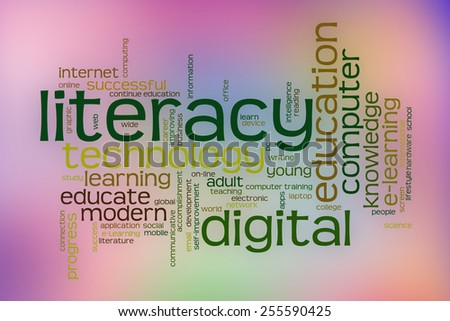 Digital literacy word cloud concept with abstract background - stock photo