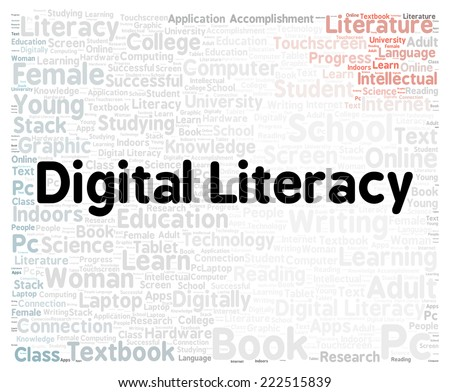 Digital literacy word cloud shape concept - stock photo