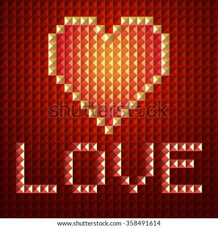 Digital Love Red Heart Pixel Text Stock Illustration 358491614