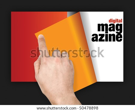 digital magazine viewed using touch screen and finger - stock photo