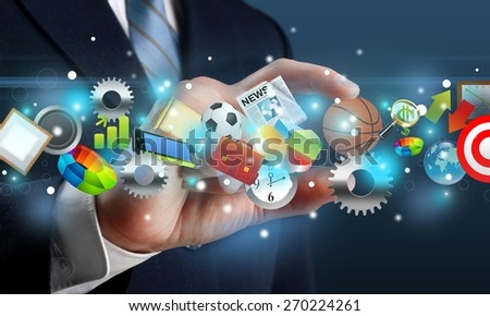 Digital. Man holding object - stock photo