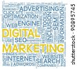 Digital marketing and seo concept in word tag cloud on white background - stock vector