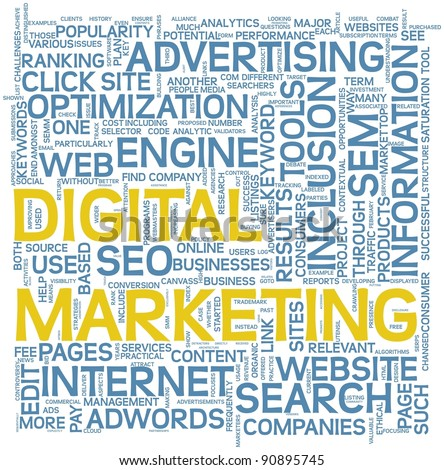 Digital marketing and seo concept in word tag cloud on white background - stock photo