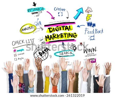 Digital Marketing Branding Strategy Online Media Concept - stock photo