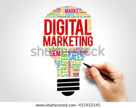 Digital Marketing bulb word cloud, business concept - stock photo