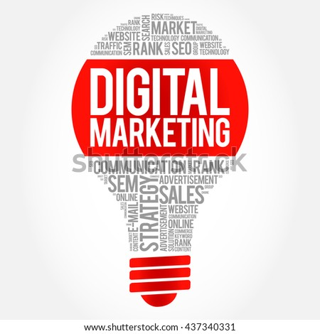 Digital Marketing bulb word cloud, business concept - stock photo