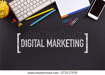 DIGITAL MARKETING CONCEPT ON BLACKBOARD - stock photo