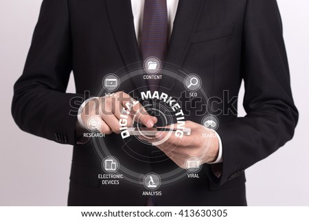 DIGITAL MARKETING CONCEPT with Icons and Keywords - stock photo