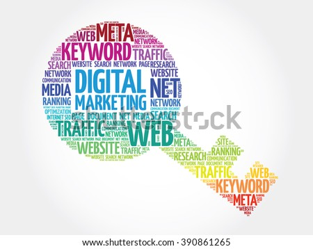 Digital Marketing Key word cloud, business concept - stock photo