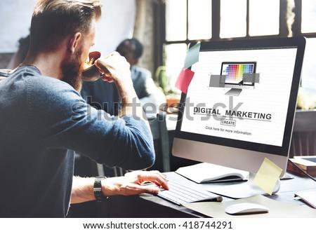 Digital Marketing Media Web Design Ideas Concept - stock photo