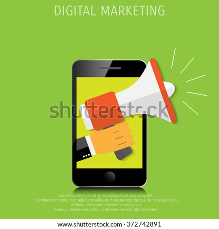 Digital marketing. Megaphone for website and promotion banners. Flat design. - stock photo