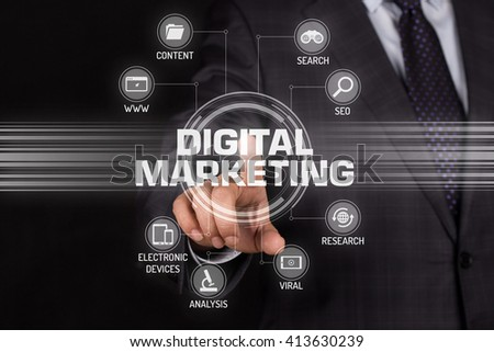 DIGITAL MARKETING TECHNOLOGY COMMUNICATION TOUCHSCREEN FUTURISTIC CONCEPT - stock photo