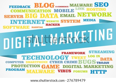 digital marketing word on collage word concept with blue background