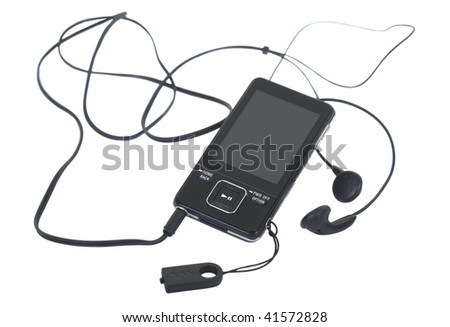 Digital media player and earbuds on white background - stock photo