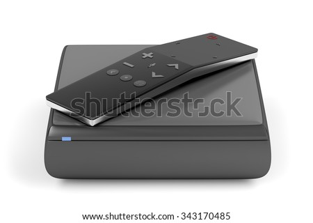 Digital media player with modern remote control with touch panel  - stock photo
