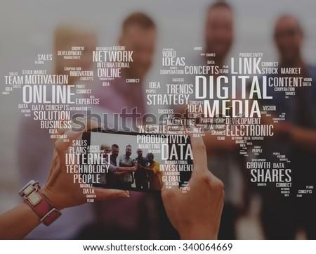 Digital Media Shares Internet Investment Link Plans Concept - stock photo