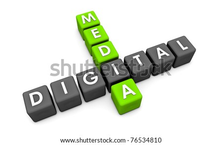 Digital Media Used on the Internet as a Concept in Green - stock photo