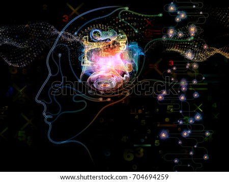 Digital Mind series. Backdrop composed of silhouette of human face and technology symbols and suitable for use in the projects on computer science, artificial intelligence and communications