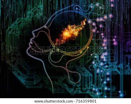 Digital Mind series. Design composed of silhouette of human face and technology symbols as a metaphor on the subject of computer science, artificial intelligence and communications