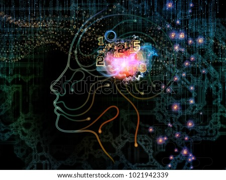 Digital Mind series. Visually pleasing composition of silhouette of human face and technology symbols for works on computer science, artificial intelligence and communications