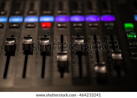 digital mixing console with volume meter, volume indicator, closeup