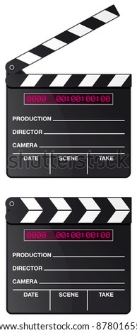 Digital movie clapper board set isolated on white background - raster version - stock photo