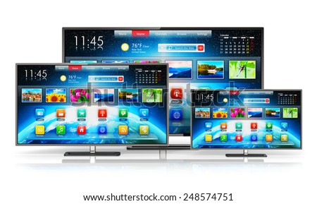 Digital multimedia entertainment and media television broadcasting internet business concept: set of different size smart TV display screens with color web interface isolated on white background