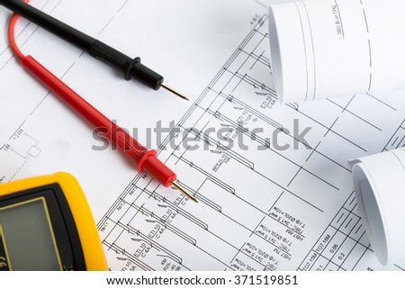 Digital multimeter close up - stock photo