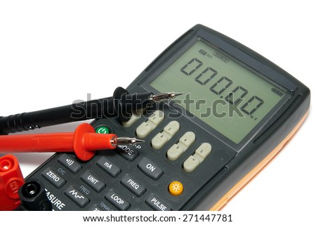 Digital multimeter is on a white background