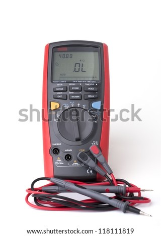 Digital multimeter isolated on the white background - stock photo