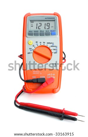 Digital multimeter isolated on the white background. Frontal view