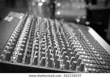 Digital music equipment, music mixer with track - stock photo
