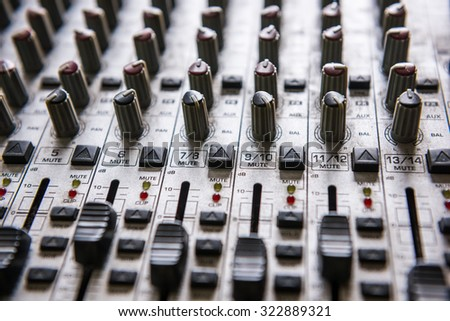 Digital music studio mixer for recording or radio / tv broadcast background - stock photo