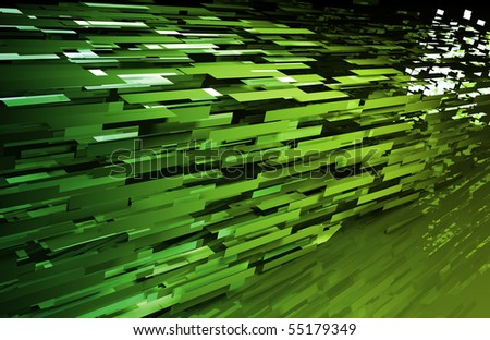 Digital Network with Fast Moving Data Packets - stock photo