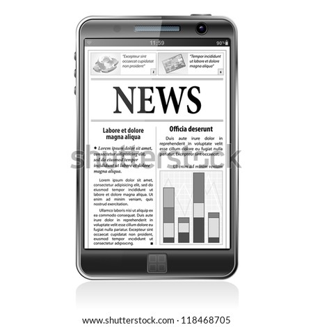 Digital News Concept with Business Newspaper on screen Smart Phone