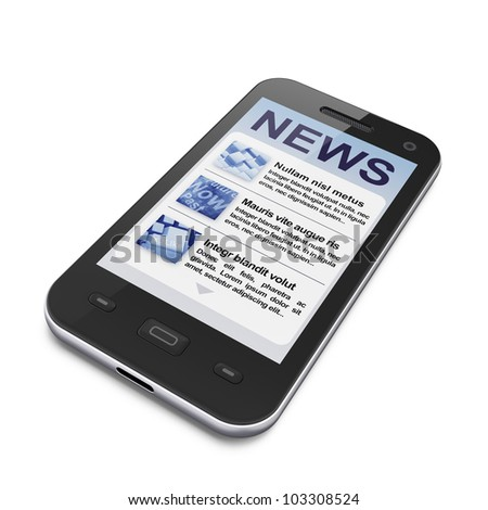 Digital news on smartphone screen, 3d render