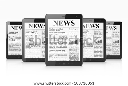 Digital news on tablet pc computer screen, 3d render - stock photo