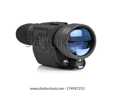 Digital night vision scope on white background. Monocular.  - stock photo