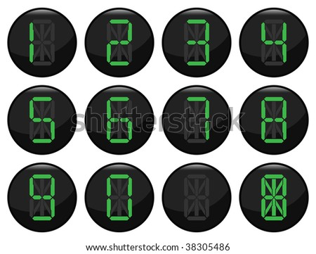 Digital number black icon set individually layered