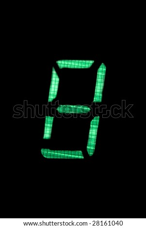 digital number eight in green on black background - stock photo