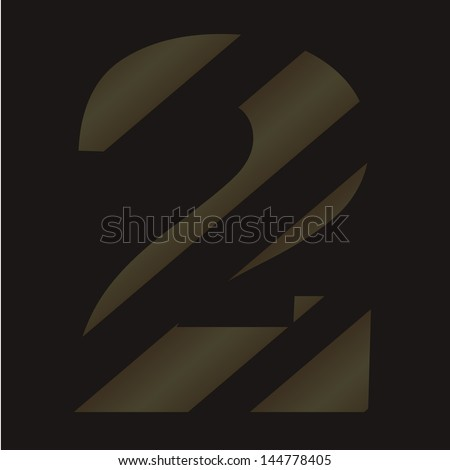 digital number. striped figures on a black background - stock photo