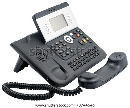 Digital office telephone set with LCD display with  off-hook handset isolated on white
