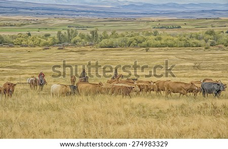 Digital oil painting cattle roundup with cowboys in Montana - stock photo